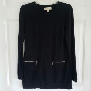 Michael Kors/ black sweater w/front zip pockets